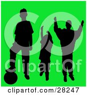 Set Of Three Silhouetted Athletic Boys With A Soccer Ball On A Green Background