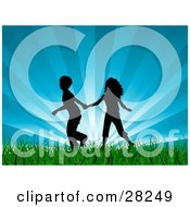 Clipart Illustration Of A Silhouetted Boy And Girl Holding Hands And Running Through Green Grass With A Bursting Blue Sky Background