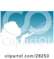 Clipart Illustration Of A White Silhouetted Woman Or Girl Blowing Snow Out Of Her Hand Over A Blue Winter Background by KJ Pargeter