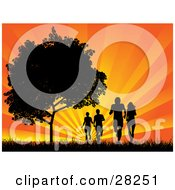 Four Silhouetted Adults Jogging In A Field Near A Tree Against A Bursting Orange Sunset