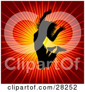 Clipart Illustration Of A Black Silhouetted Woman Leaping In The Air Over A Bursting Orange And Red Background Symbolizing Energy And Happiness by KJ Pargeter