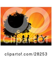 Clipart Illustration Of Four Silhouetted Children Running Holding Hands And Doing Somersaults In A Field Near A Tree Against A Bursting Orange Sunset by KJ Pargeter #COLLC28253-0055
