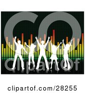 Clipart Illustration Of Five Silhouetted White People Dancing On A Black Surface In Front Of An Equalizer Background