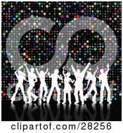Clipart Illustration Of Eight White Silhouetted Dancers With Their Arms In The Air Disco Dancing Over A Colorful Circle Background On Black