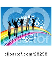 Five Black Silhouetted People Dancing On A Rainbow With Stars And Circles Over A Blue Background
