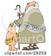 Clipart Illustration Of A New Years Baby Boy Looking Up At An Old Man With A Cane by Dennis Cox