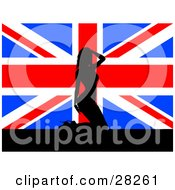 Clipart Illustration Of A Sexy Black Silhouetted British Woman In Heels Kneeling In Front Of A Union Jack Flag