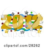 Clipart Illustration Of A Golden 2012 Over Green Purple And Blue Waves Surrounded By Falling Stars At A New Year Party by Dennis Cox