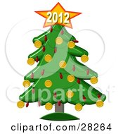 Clipart Illustration Of A Golden New Year Of 2012 On Top Of A Christmas Tree by Dennis Cox