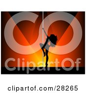 Clipart Illustration Of A Sexy Black Silhouetted Pole Dancer Woman On A Stage Under Orange And Red Spotlights by KJ Pargeter