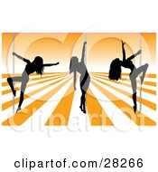 Clipart Illustration Of Three Sexy Black Silhouetted Female Pole Dancers On An Orange And White Stage In A Strip Club