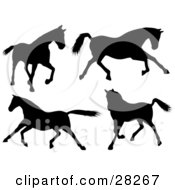 Clipart Illustration Of A Set Of Four Silhouetted Horses Walking Running And Galloping
