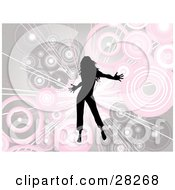 Clipart Illustration Of A Silhouetted Black Woman Dancing Over A Bursting Background Of Pink And Beige Circles
