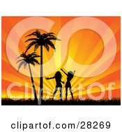 Clipart Illustration Of Two Silhouetted Women Friends Or Sisters Silhouetted And Dancing In Grass By Palm Trees Against A Bursting Orange Background