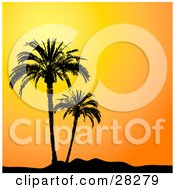 Clipart Illustration Of Two Palm Trees In Paradise Silhouetted Against An Orange Sunset Sky