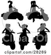 Clipart Illustration Of A Woman On A Scooter In Five Different Poses Silhouetted On White by KJ Pargeter