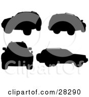 Clipart Illustration Of A Black Silhouetted Sport Utility Vehicle In Different Positions Over A White Background