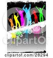 Clipart Illustration Of A Group Of Six Diverse And Colorful Silhouetted People Dancing On A White Grunge Text Bar With Drips And Circles Over A Gradient Background