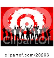 Clipart Illustration Of A Group Of Black Silhouetted Men And Women Dancing In Front Of A Red Grunge Background With A White Bullseye Target Symbolizing Success And Achievement