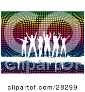 Clipart Illustration Of A Group Of Six White Silhouetted People Dancing On A White Grunge Text Bar Over A 3d Colorful Disco Ball Background
