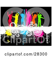 Clipart Illustration Of A Group Of Six Colorful Silhouetted Men And Women Dancing On Top Of A White Grunge Text Bar On A Background Of Circles And Dripping Paint Over Black