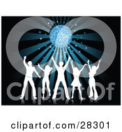 Clipart Illustration Of Five White Silhouetted People Dancing With Their Arms Up Under A Disco Ball With A Bursting Blue Background by KJ Pargeter