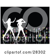 Clipart Illustration Of Two White Silhouetted Women Dancing On A Reflective Black Dance Floor Over A Black Background With Colorful Disco Dots