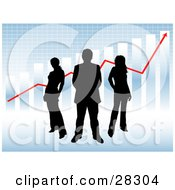 Clipart Illustration Of A Black Silhouetted Businessman And Two Women Standing Against A Blue Background With A Bar Graph Grid And Red Arrow by KJ Pargeter