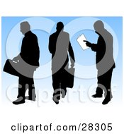 Clipart Illustration Of Three Black Silhouetted Businessmen Carrying Briefcases Walking Away And Reading Papers Over A Blue Background