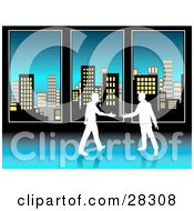 Clipart Illustration Of Two White Silhouetted Businessmen Preparing To Shake Hands In Front Of Tall Office Windows Overlooking City Skyscrapers