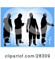 Clipart Illustration Of Four Black Silhouetted Businessmen In Different Poses Over A Blue And White Background