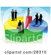 Clipart Illustration Of Black Silhouetted Business Men And Women Standing On Colorful Pieces Of A Pie Chart Over A Blue Background by KJ Pargeter