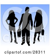 Clipart Illustration Of A Black Silhouetted Businessman And Two Women Standing Against A Gradient Blue Background