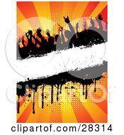 Silhouetted Crowd At A Party Dancing Over A Blank White Text Bar With Dripping Grunge Over A Bursting Orange Background