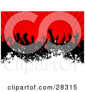 Silhouetted Black Audience Waving Their Arms In The Air Over A Bursting Red Background With White Grunge Along The Bottom