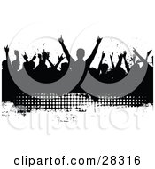 Silhouetted Black Audience Waving Their Arms In The Air On A Black Grunge Text Box With White Dots And A White Background