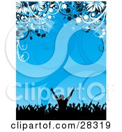 Black Silhouetted Party Crowd With Their Arms In The Air Over A Blue Background Of Vines And Flowers