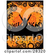 Clipart Illustration Of A Silhouetted Crowd Dancing With Their Arms In The Air Over An Orange Grunge Background Of Circles Vines And Butterflies