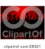 Silhouetted Black And Red Crowd Dancing At A Party Under Red Light