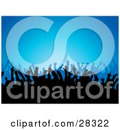 Clipart Illustration Of Silhouetted People Waving Their Arms In The Air At A Concert Over A Blue Background