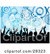 Clipart Illustration Of A Silhouetted Black Audience Waving Their Arms In The Air Over A Blue Background With White And Blue Circles And Splatters