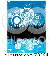 Clipart Illustration Of A Silhouetted Black Party Crowd On A Black Grunge Text Bar Over A Blue Background Of White Splatters And Circles