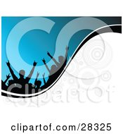 Black Silhouetted People In An Audience Holding Their Arms Up Over A Blue Background On A White Wave With Circles And A Black Line