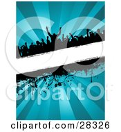 Silhouetted Crowd At A Party Dancing Over A Blank White Text Bar With Dripping Grunge And Vines Over A Bursting Blue Background