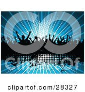Silhouetted Crowd Of People Dancing Over A Black Text Box With A Bursting Blue Star Background