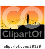 Clipart Illustration Of An Industrial Building With Power Lines And Satellites Against An Orange Sunrise Or Sunset