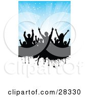 Silhouetted Black Audience On A Dripping Black Grunge Text Bar With A Divided Blue Background With Bursting Stars And A White Section