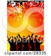 Clipart Illustration Of A Silhouetted Party Crowd With Their Arms In The Air Dancing Over An Orange Background Of Lines And Vines