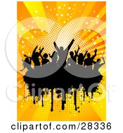 Clipart Illustration Of A Silhouetted Crowd Of People Dancing Over A Black Text Box With A Bursting Orange Starry Background