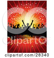 Clipart Illustration Of A Silhouetted Crowd Of People Dancing Over A Black Text Box With A Bursting Red Starry Background by KJ Pargeter